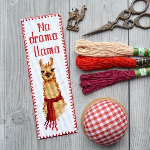 """Набор для вышивки закладки """"No drama Llama"""""""