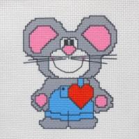 """Канва с нанесенным рисунком """"Влюбленная мышка"""""""