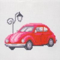 """Канва с нанесенным рисунком """"Красный автомобиль"""""""