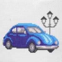 """Канва с нанесенным рисунком """"Синий автомобиль"""""""