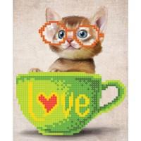 """""""Кошеня в чашці"""" - Схема для вишивки бісером"""