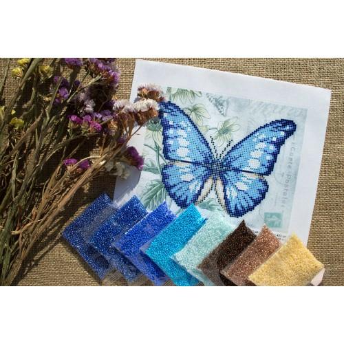 """Схема для вышивки бисером """"Синяя бабочка"""""""