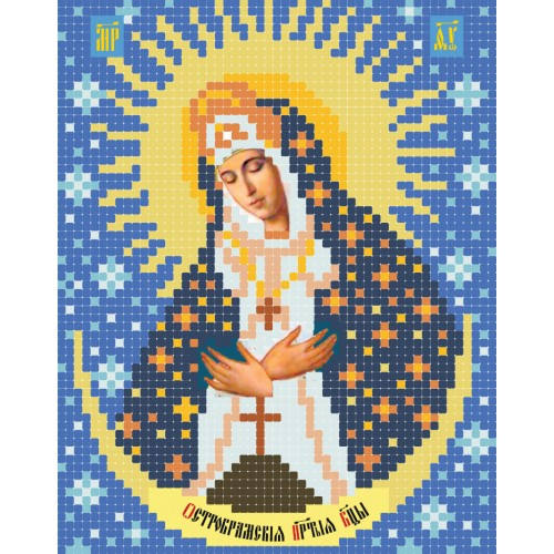 """Схема для вишивки бісером ікони """"Божа Матір Остробрамська А5"""""""