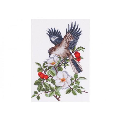 """Набор для вышивки крестом """"Птица в шиповнике"""""""