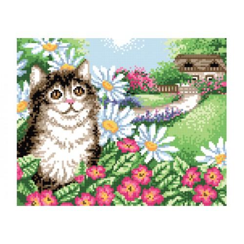 """Схема для вишивки бісером """"Кіт у квітах"""""""