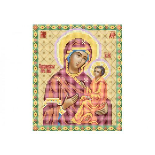 """Схема для вышивки бисером иконы """"Божья матерь Тихвинская"""""""
