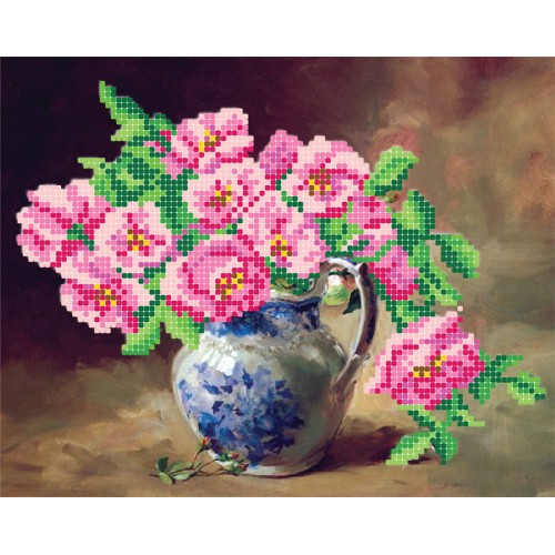 """Схема для вишивки бісером """"Рожеві квіти"""""""