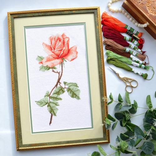 """Набір для вишивання хрестиком """"Чайна троянда"""""""