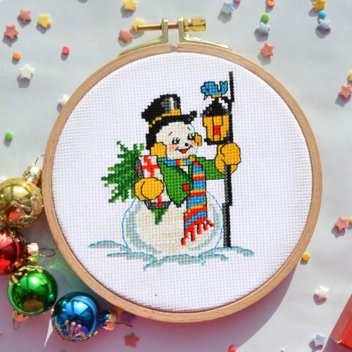 """Набір для вишивання хрестиком """"Сніговик"""""""