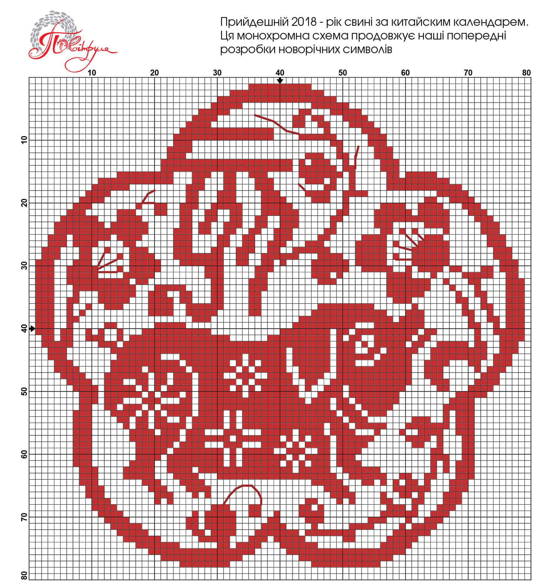 Cross stitch pattern for pig - symbol of 2019 58